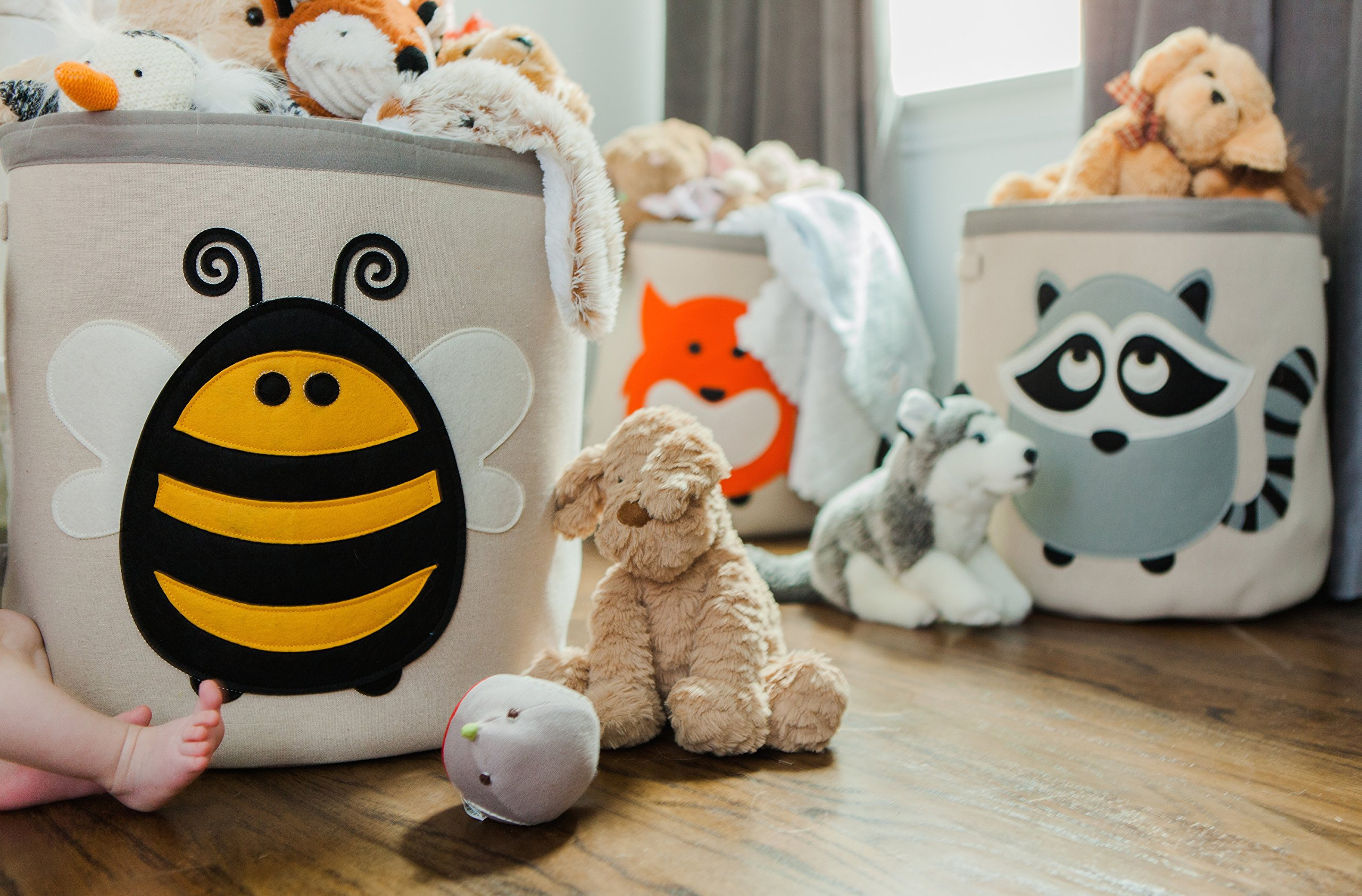 Grey Bee Animal Theme Collapsible Canvas Storage Bin for Kids, Red - Fox by Grey Bee (Image #2)