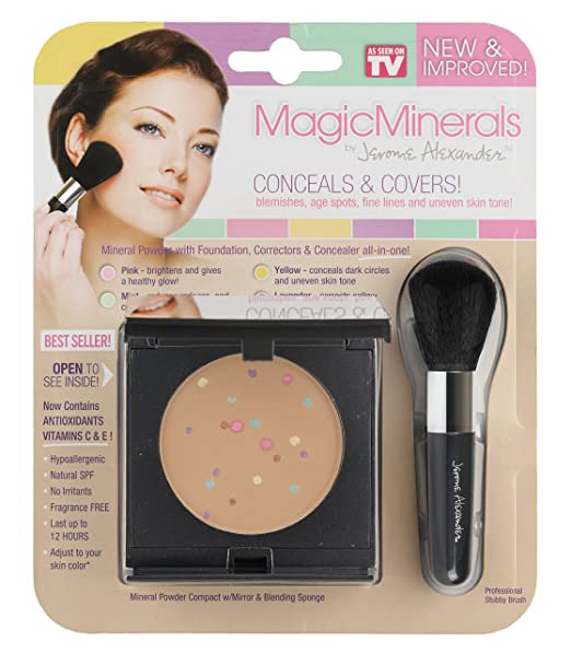 MagicMinerals by Jerome Alexander (2pc Kit) - Mineral Powder Compact with Mirror, Blending Sponge and Professional Stubby Brush - Foundation, Concealer and Corrector All-In-One! Medium Shade