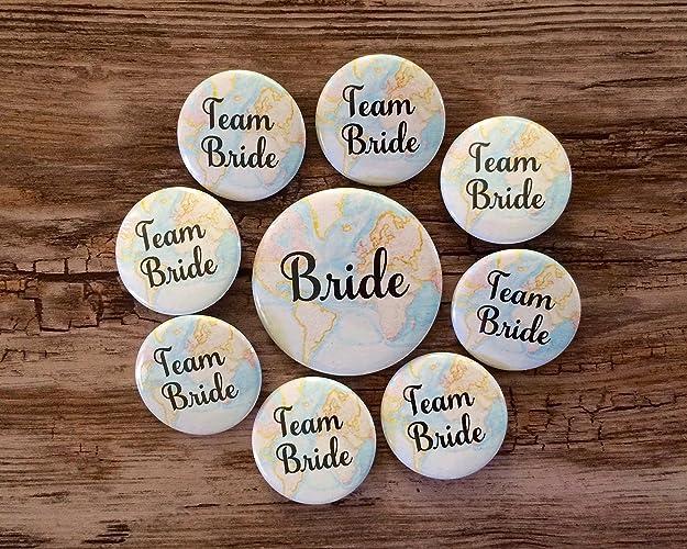 8d3f24d4d90 Amazon.com  Team Bride Map Pins - Travel Theme - Destination Wedding - Bridal  Shower Button Set  Handmade