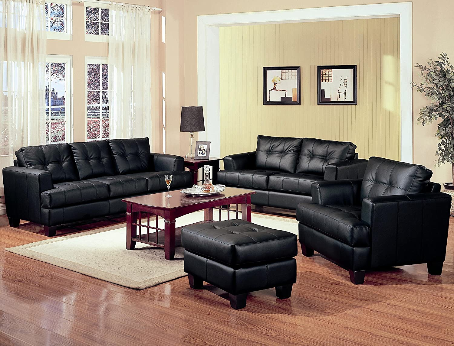 Amazon com coaster home furnishings samuel living room set with sofa love seat chair and ottoman in black premium bonded leather kitchen dining