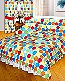 Double Bed Duvet / Quilt Cover Multi Polka Dots Rainbow Spots Bedding Set Modern