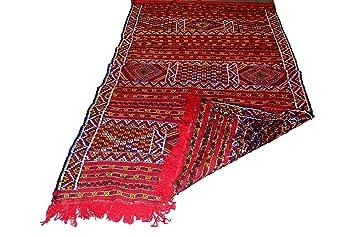 Moroccanity Beni Ourain Rouge Avec Orange Et Bleu Designs Tapis