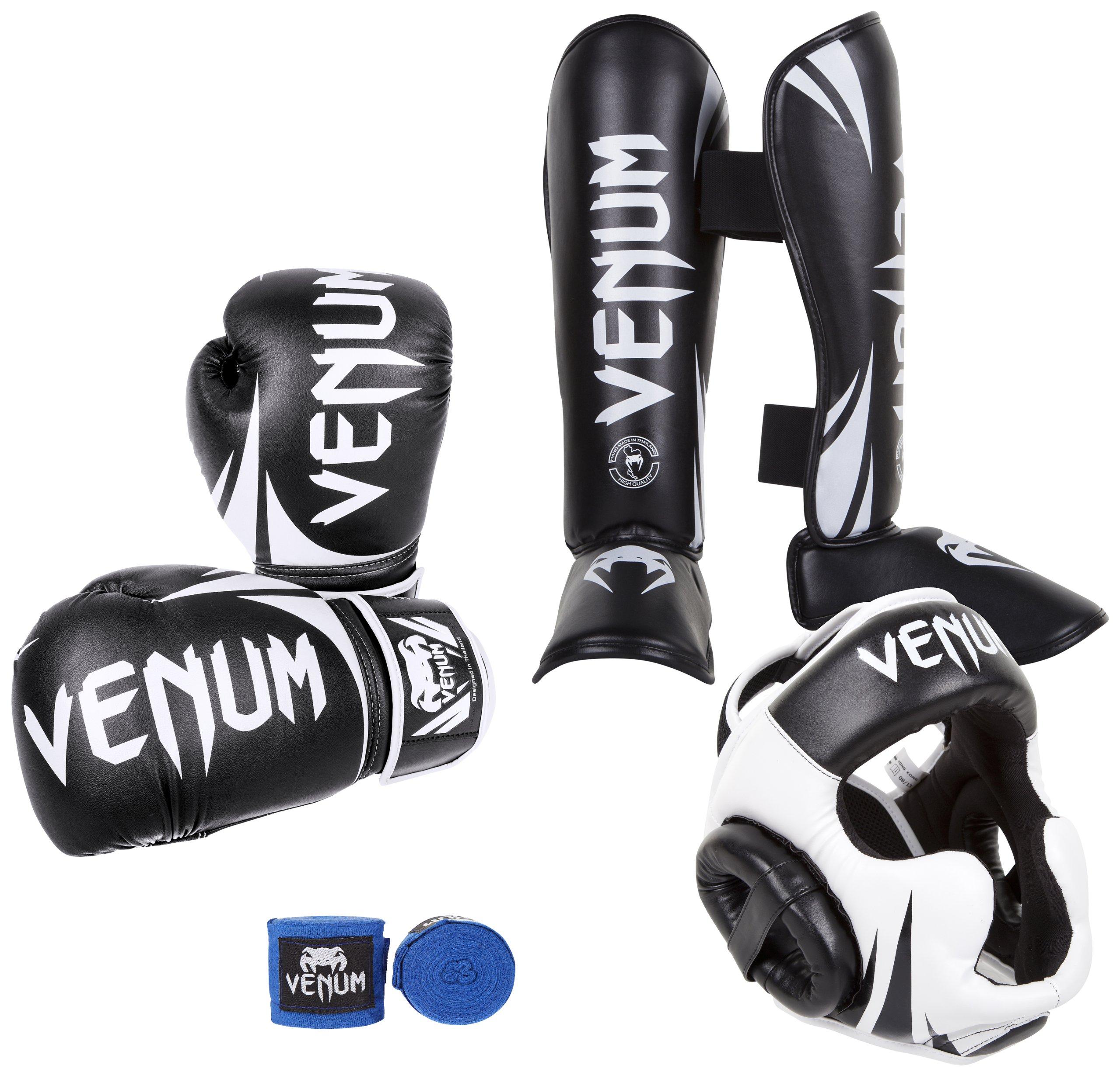 Venum Challenger 2.0 Standup Bundle, Black Gloves, Black Shinguards, Black/White Headgear, Blue Handwraps, 10-Ounces Gloves, X-Large Shinguards, Headgear One Size, Handwraps 4M by Venum