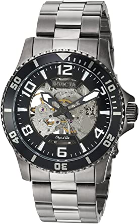 Invicta Mens Objet D Art Automatic Stainless Steel Casual Watch, Color:Grey