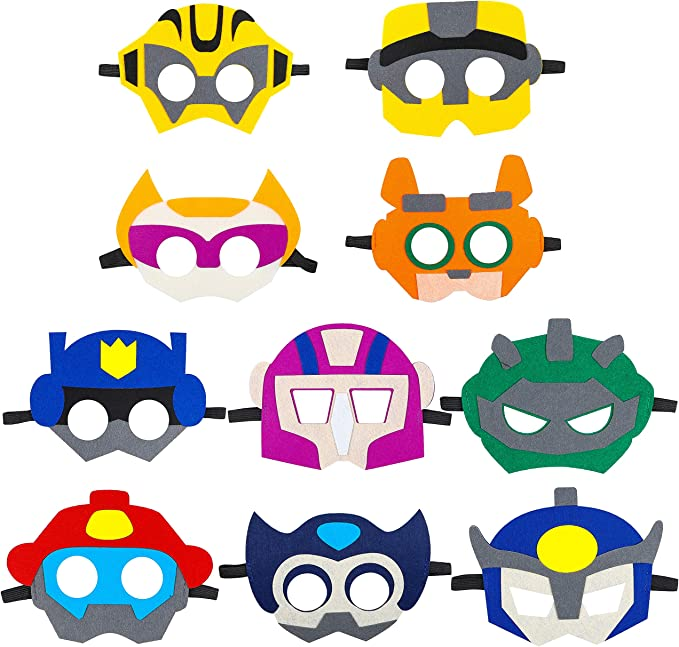 Robot White Mask with Elastic Great for Halloween Trick Or Treating Party Fun