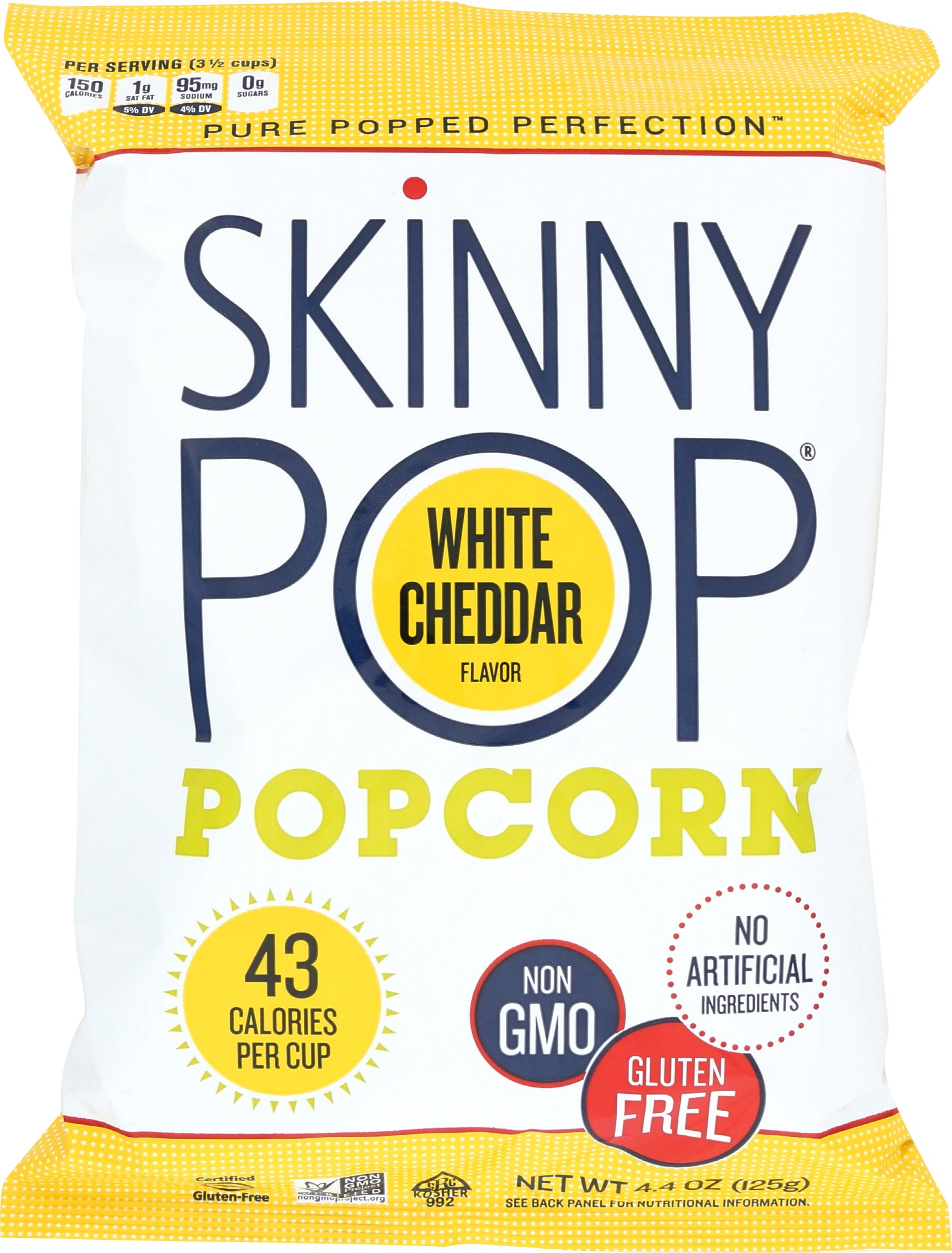 SkinnyPop Popcorn, White Cheddar, 4.4 Ounce (Pack of 12)
