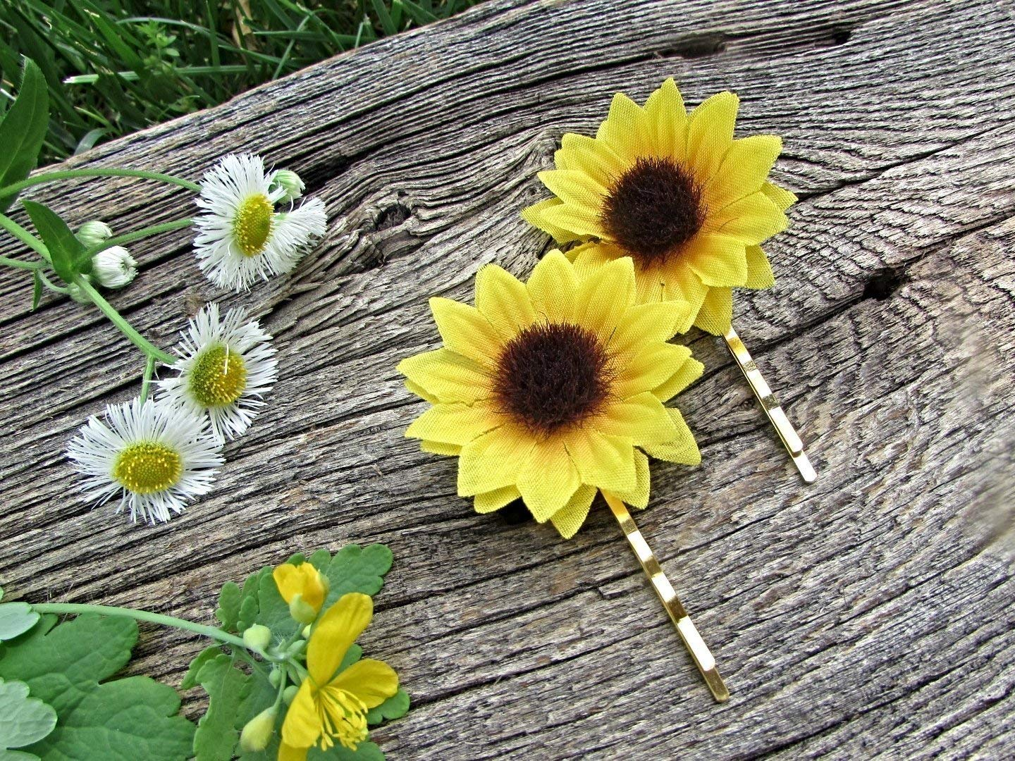 Silk Sunflower Hair Pins- Bobby Pins- Hair Accessories for Boho Wedding Prom- Bride Bridesmaids Flower Girl Gift