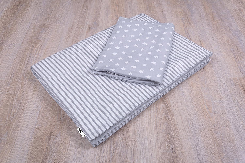 Amilian Parure de lit bébé, motif: étoiles grises, taille 100x 135cm (40x 60cm) zieba