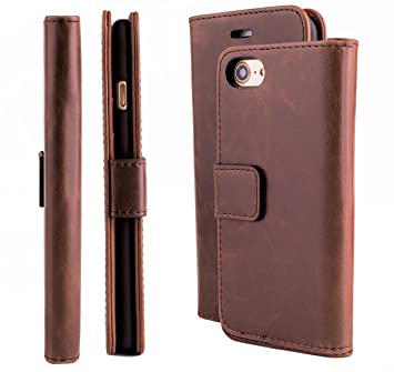 iCues Apple iPhone 8 iPhone 7 Maraba Tasche Buffalo Kaffee | Kartenfach Standfunktion Stand Leder Book Klapphülle Schutz Etui Flip Case Schutzhülle