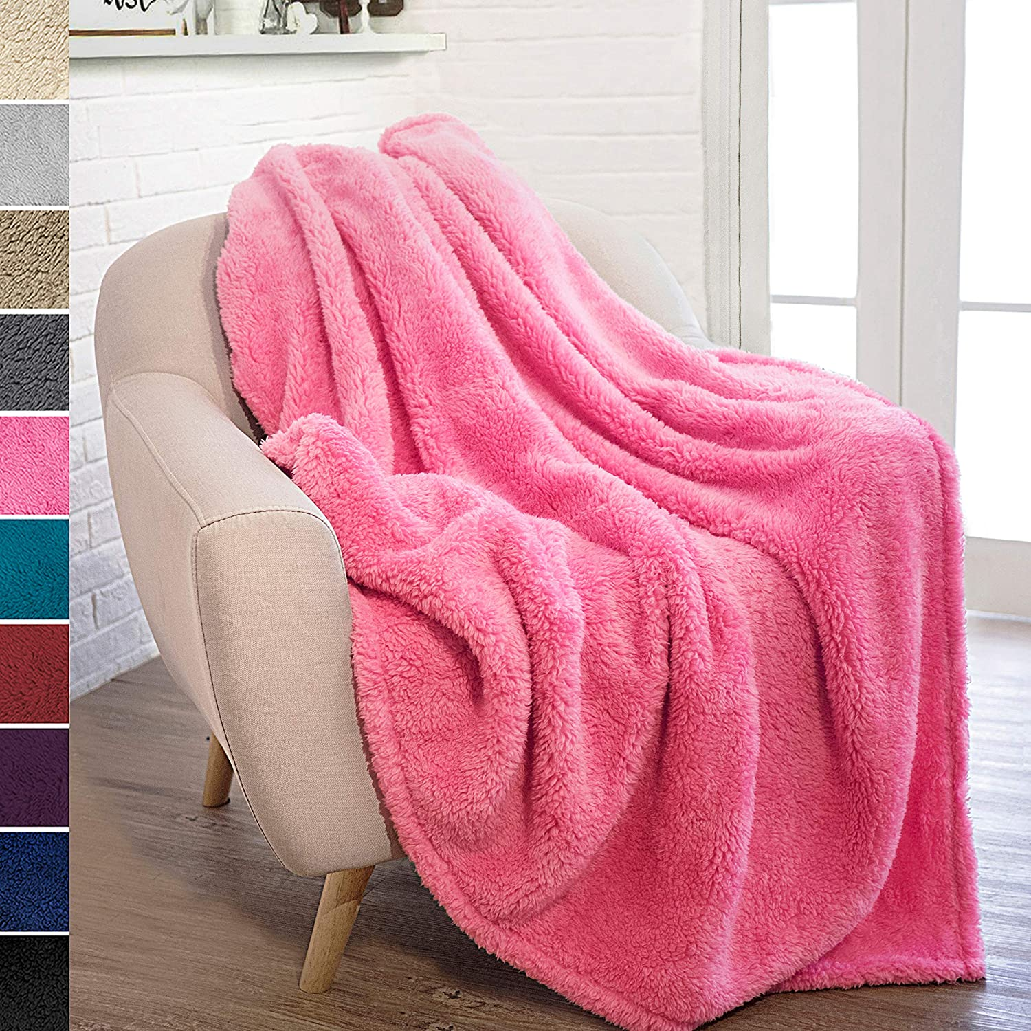 PAVILIA Plush Sherpa Throw Blanket for Couch Sofa | Fluffy Microfiber Fleece Throw | Soft, Fuzzy, Cozy, Lightweight | Solid Pink Blanket | 50 x 60 Inches