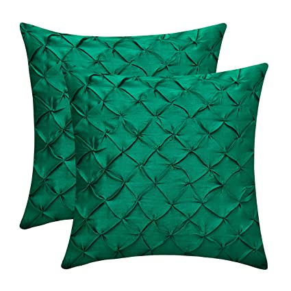 Amazing The White Petals Emerald Green Couch Pillow Covers Faux Silk Pinch Pleat 14X14 Inch Pack Of 2 Ibusinesslaw Wood Chair Design Ideas Ibusinesslaworg
