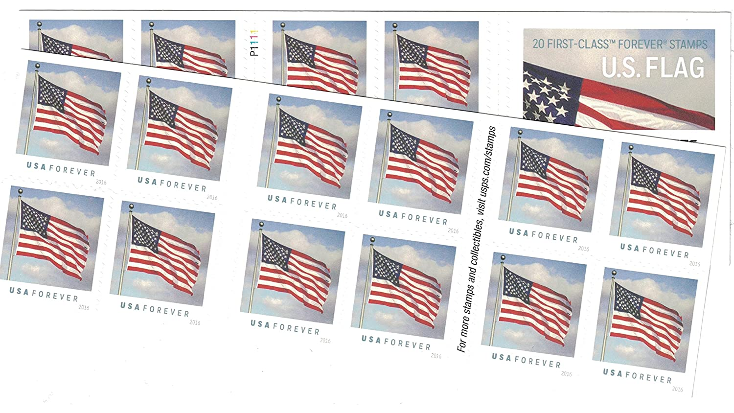 Amazoncom Usps Us Flag Forever Stamps 40 Stamps Two Books Of 20 - United-states-forever-stamps