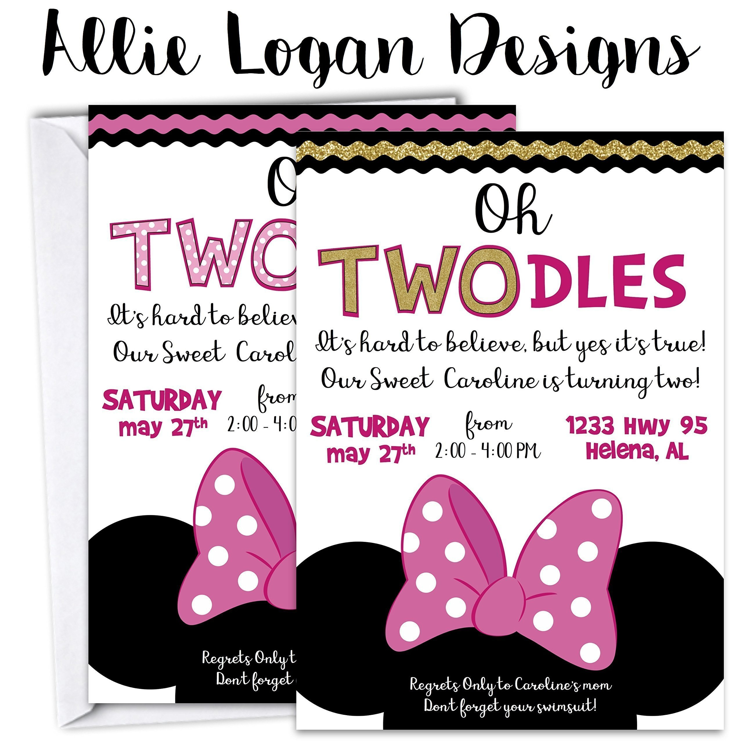 Minnie Mouse Birthday Invitation Oh Toodles.Any age! Solid or Glitter!