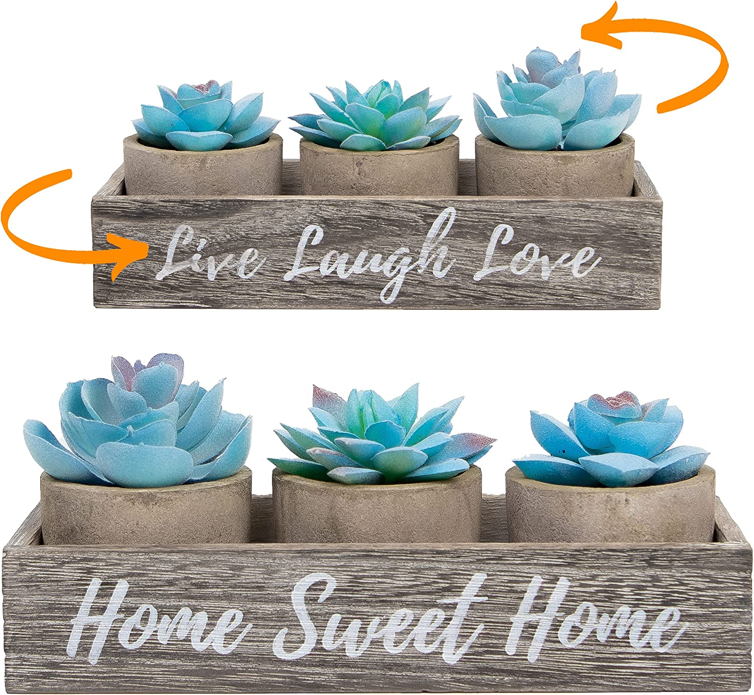 3 Artificial Succulent Plants with Pots with Rustic Planter Box – Home Sweet Home & Live Laugh Love Realistic Greenery Mini Faux Plant for Home Decor Office Table Bathroom Kitchen Dorm - Blue
