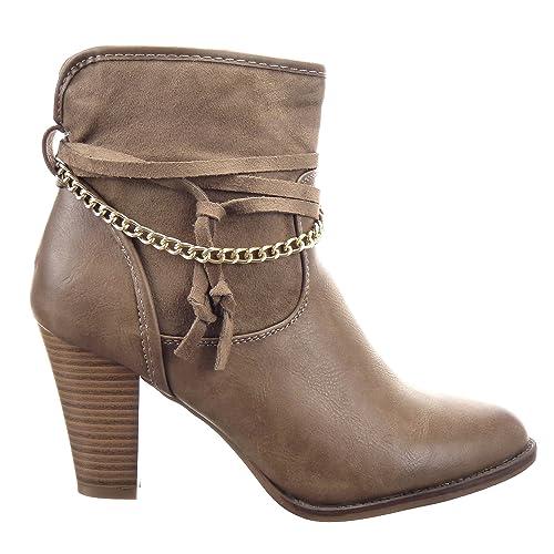 Sopily - Zapatillas de Moda Botines Low Boots Low boots Botas plisadas Caña baja mujer Cadena