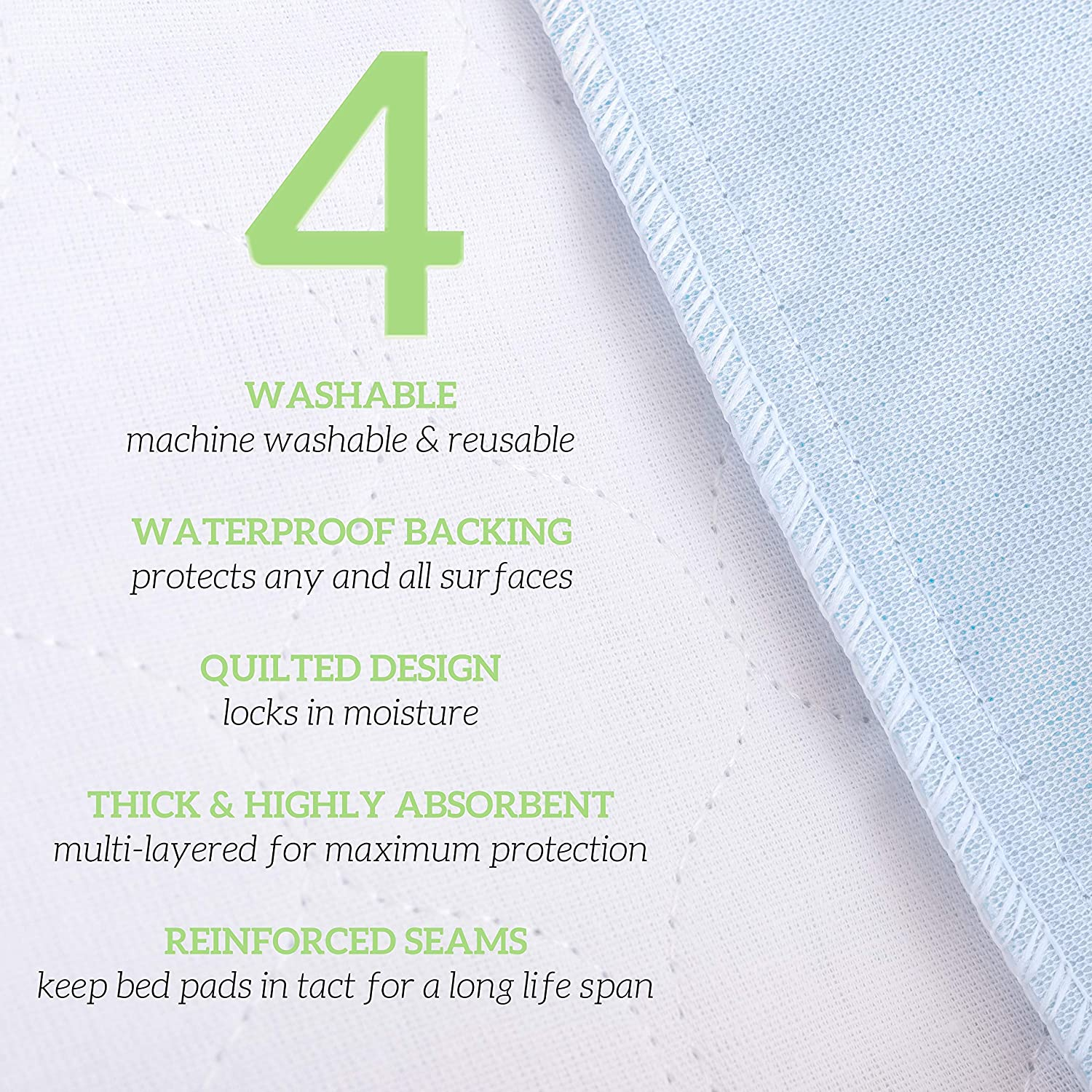 Cats 34 x 36 Bunny /& Seniors by Green Lifestyle Reusable pet Pads Washable Underpads 4 Pack 34x36 for use as Incontinence Bed Pads Pack of 4 Large Bed Pads Great for Dogs