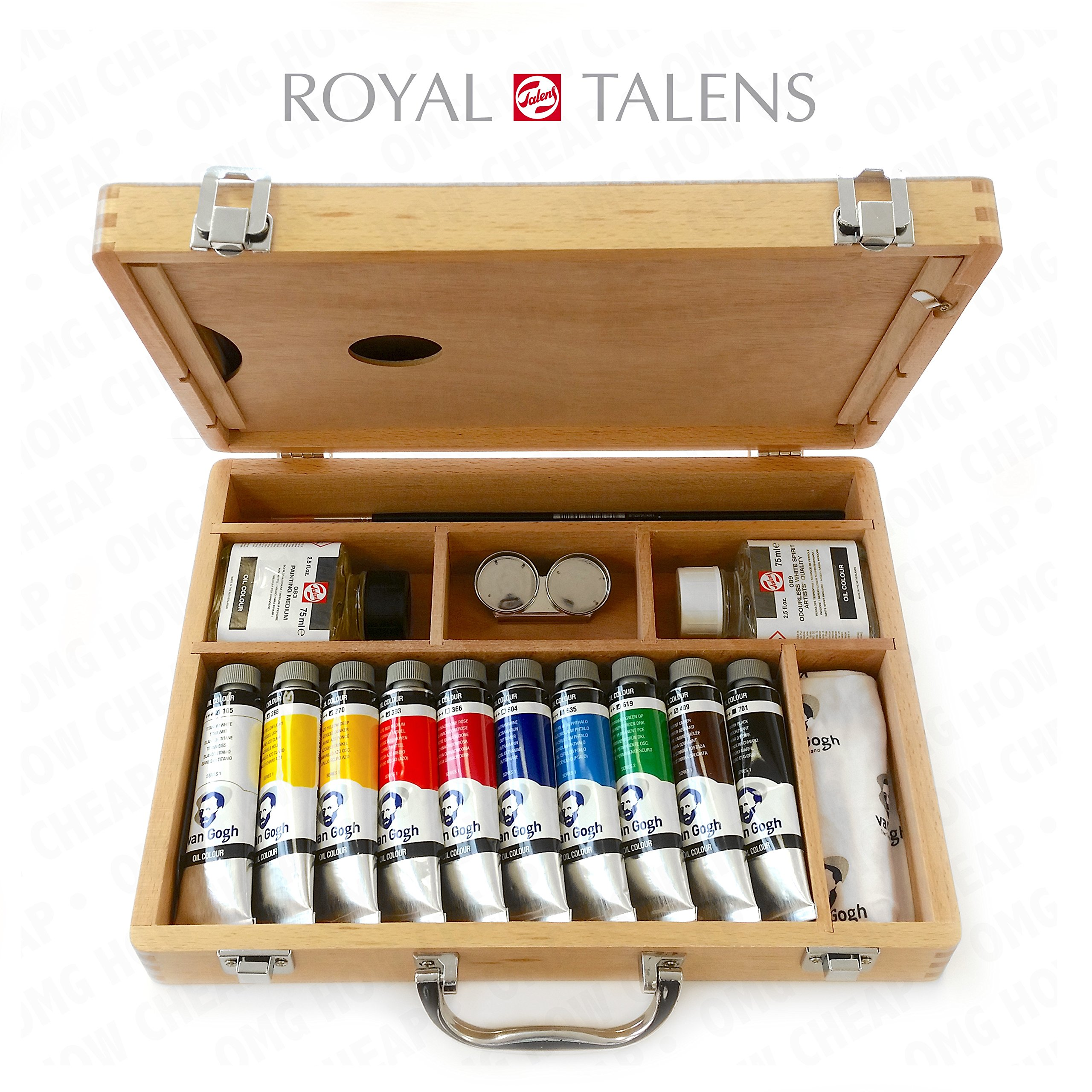 Royal Talens - Van Gogh Oil Colour Art Set in Premium Wooden Case - With Paints, Palette, and Brushes