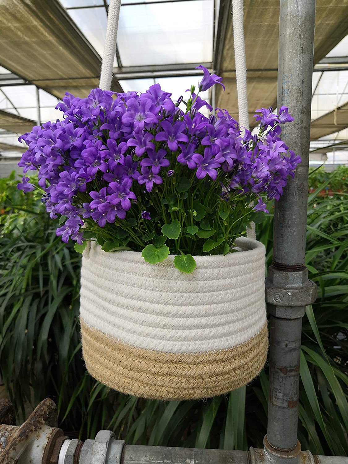 Wall Hanging Planter -1 pc- Cotton Rope Hanging Planter Woven Plant Basket Indoor Up to 7 Pot Macrame Plant Hangers Storage Organizer Home Decor Hanging Planter Basket Wall Basket for Plants Brown
