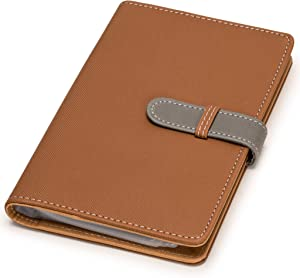 Nicely Neat Leatherette Business Card / Credit Card Organizer (Golden Brown) - Holds Up to 240 Cards - Top Grade Synthetic Leather