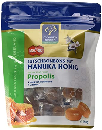 Manuka Health - MGO 400 + Lutschbonbons mit Propolis 250 g - 100% Pur aus Neuseeland mit zertifiziertem Methylglyoxal Gehalt