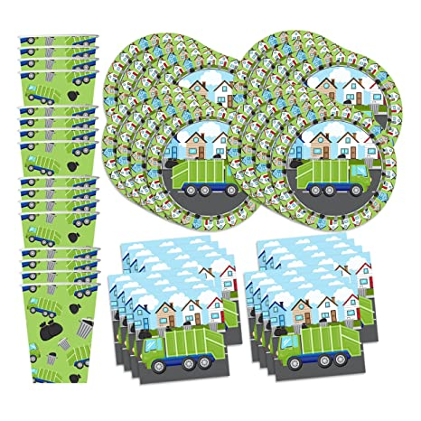 Amazon garbage trash truck party supplies set plates napkins garbage trash truck party supplies set plates napkins cups tableware kit for 16 filmwisefo Image collections