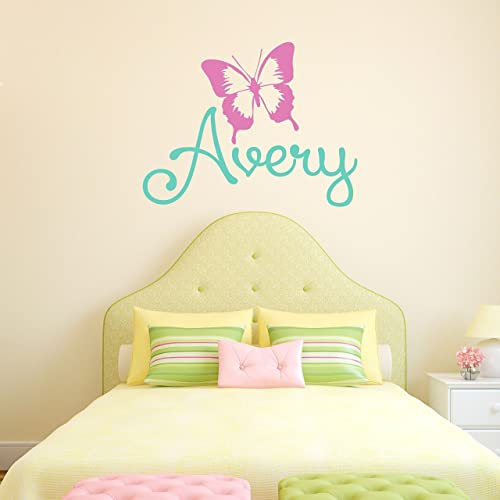 Amazon.com: Custom Name Butterfly Nursery Wall Decal - Girls ...
