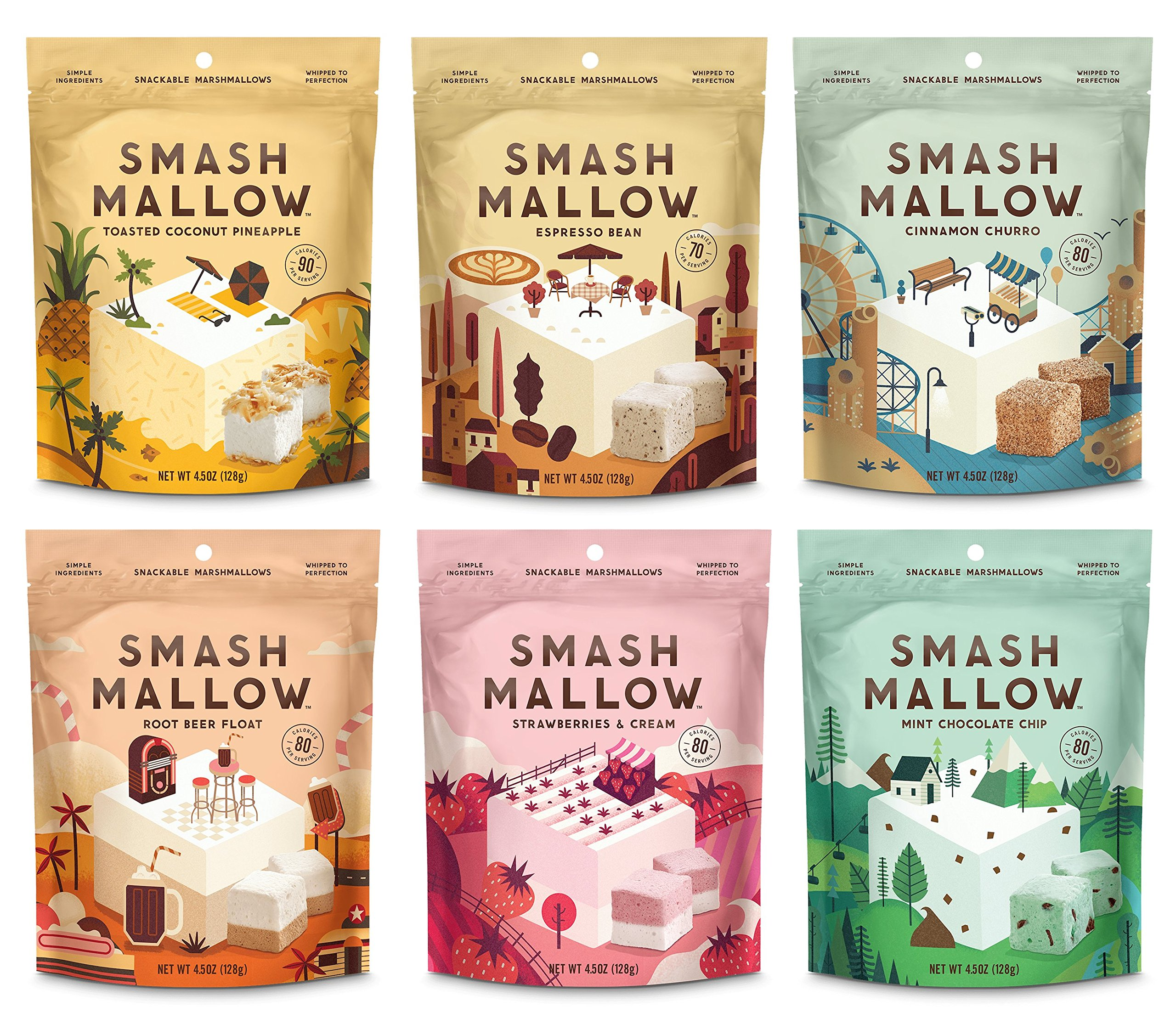 SmashMallow Snackable Marshmallows Variety Pack 4.5oz Bags (Pack of 6) by SmashMallow