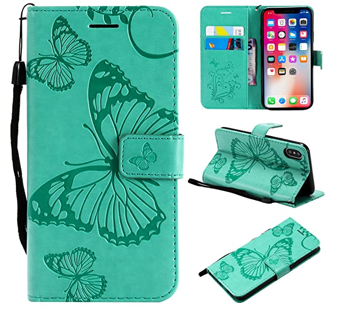 new arrival 959b3 525e2 iPhone XS Wallet Case,iPhone X Case,SMYTU Premium Emboss Butterfly Pattern  Flip Wallet Shell PU Leather Magnetic Cover Skin with Wrist Strap Case for  ...