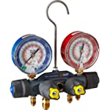 Yellow Jacket 49963 Manifold Only Degrees F, psi Scale, R-22/404A/410A Refrigerant, Red/Blue Gauges