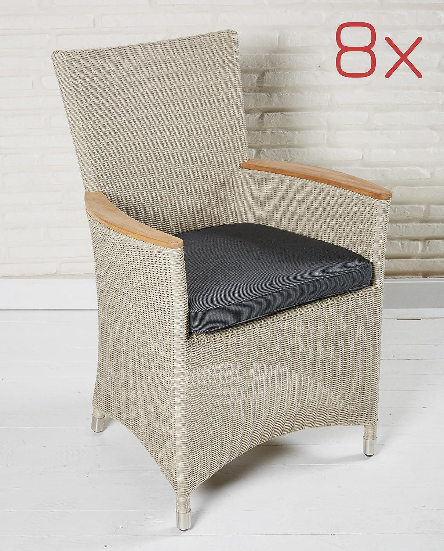 8 Terrassenstühle Gartenstuhl Set Gartenmöbel Poly Rattan beige Armlehnenstühle