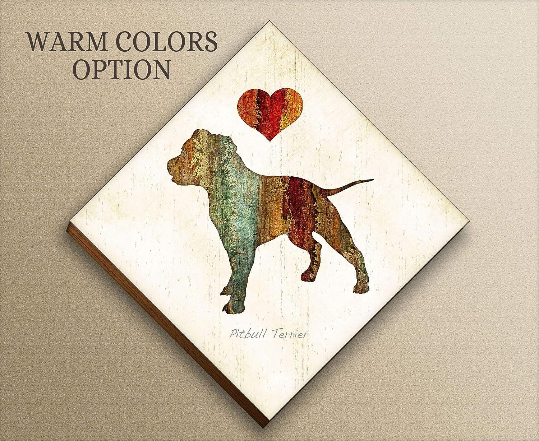 Amazon com: Pitbull Terrier Dog Diamond Shaped Mounted Art