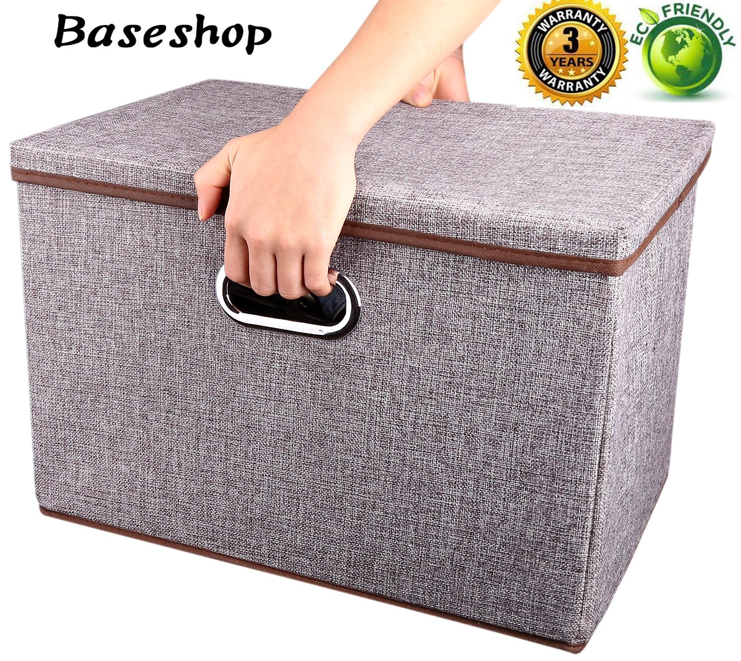 Storage Container Organizer bin Collapsible,Large Foldable Linen Fabric Gray Box with Removable Lid and Handles, for Home,Baby,Office,Nursery,Closet,Bedroom,Living Room,NO Peculiar Smell [1-Pack] Baseshop