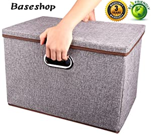 Storage ContainerOrganizer bin Collapsible,Large FoldableLinen Fabric Gray Boxwith Removable Lid and Handles, for Home,Baby,Office,Nursery,Closet,Bedroom,Living Room,NO Peculiar Smell [1-Pack]