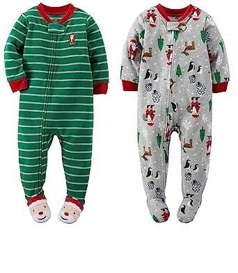 b7772b63301a Amazon.com  Carter s Toddler Boys 2 Pack Christmas Foot Pajamas ...