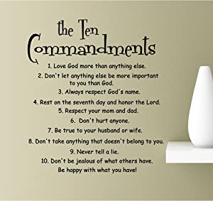 The Ten Commandments. Love God More Than Anything Else. Don't let Anything Else be More Important to You Than God. Always Respect God's Name, Rest on Vinyl Wall Art Inspirational Quotes Decal Sticker