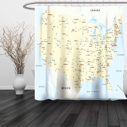 Amazon.com: HAIXIA Shower Curtain Map United States Interstate Map ...