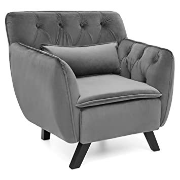 Best Choice Products Mid Century Modern Tufted Microfiber Accent Chair W/  Removable Lumbar Pillow