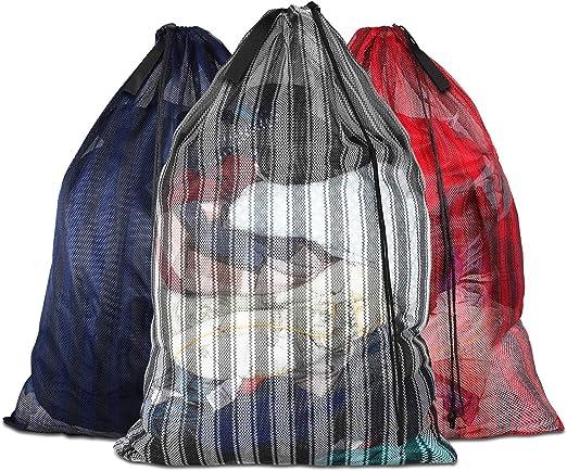 "24/"" X 36/"" DRAWSTRING CLOTHES CARRY HANDLE NYLON EXTRA LARGE MESH LAUNDRY BAG"