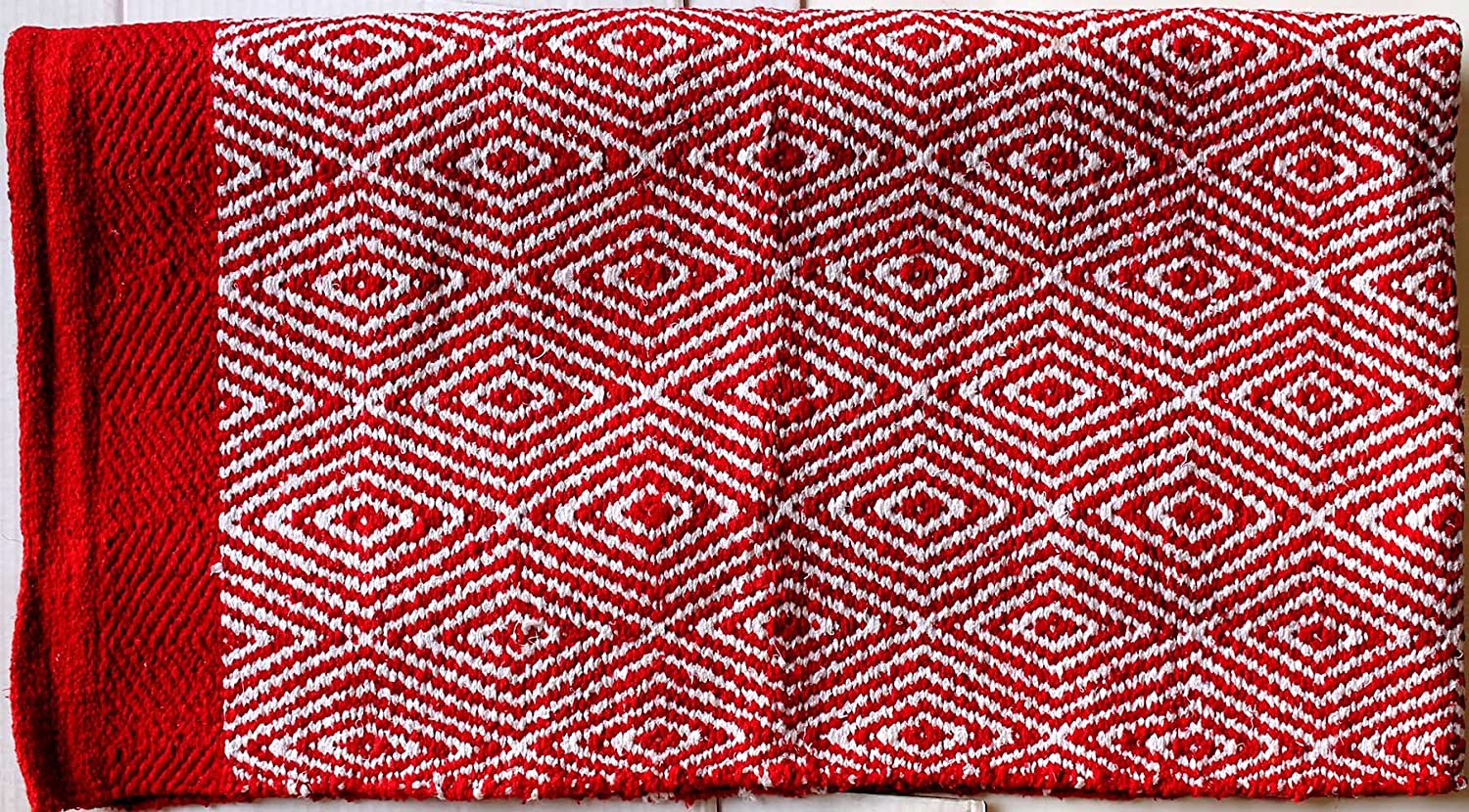 Cotton Blend Western Show Trail Horse SADDLE BLANKET Double Weave Red White 3725
