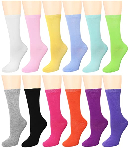 a60c4ec0177 12 Pairs Women s Crew Socks (12 Assorted) 446-4-B96004 at Amazon ...