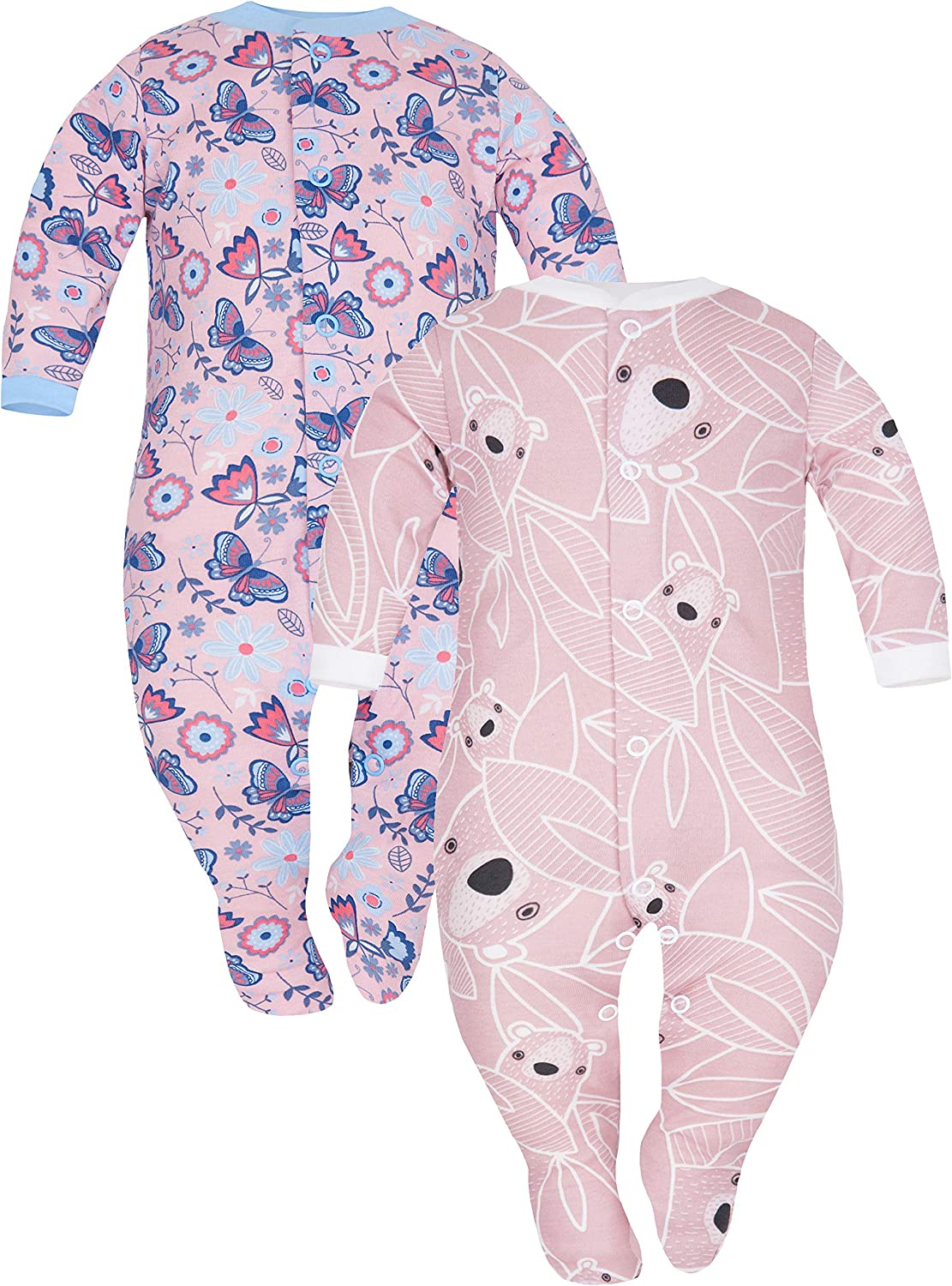 Sizes 9-24 Months Pack of 2 SIBINULO Baby Boys Baby Girls Sleepsuit with ABS Mix