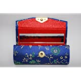 ONE Electric Blue (Royal Blue) Silk Brocade Lipstick Holder / Case with Gold & Green / Blue Silk Embroidery, Mirror inside for Convenience - Holds one Ladies Lipstick per case