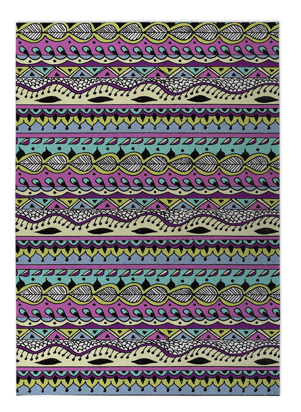 KAVKA DESIGNS Color Dance Indoor-Outdoor Floor Mat, (Blue/Pink/Purple/Yellow), Size: 24x36x0.2 - (PLUAVC110FM23)