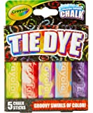 Crayola Washable Tie Dye Sidewalk Chalk, 5 Anti-Roll Chalk Sticks, Outdoor Toy, Gift