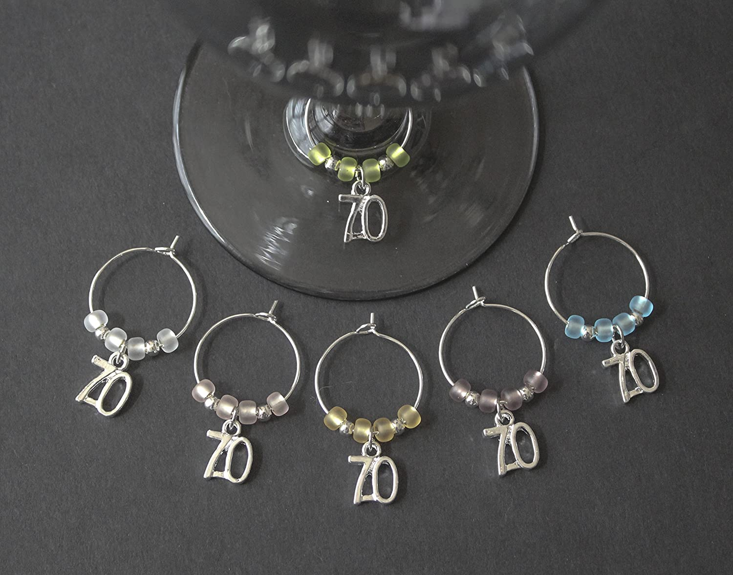 70th Birthday/Anniversary Wine Glass Charms-Set of 6-S70/001-6