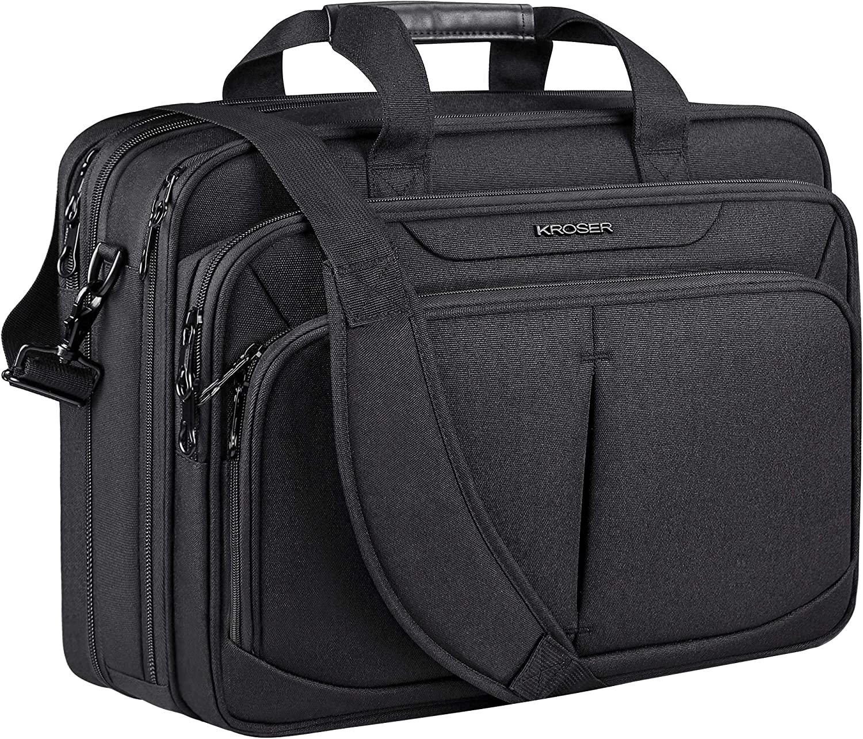 "KROSER Laptop Bag 18"" Expandable Lightweight Briefcase for 17.3"" Laptop Premium Business Work Bag Water-Repellent Messenger Bag with RFID Pockets for School/Travel/Women/Men-Black"