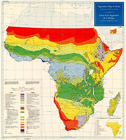 Map Of Africa Vegetation.Amazon Com Historic Map Africa 1958 Vegetation Map Of Africa