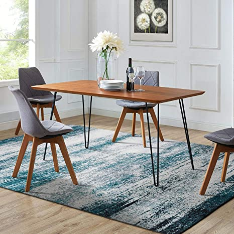 Decomall Leon Abstract Area Rugs Blue Modern Contemporary Carpet For Living Room Bedroom 5 X8 Kitchen Dining