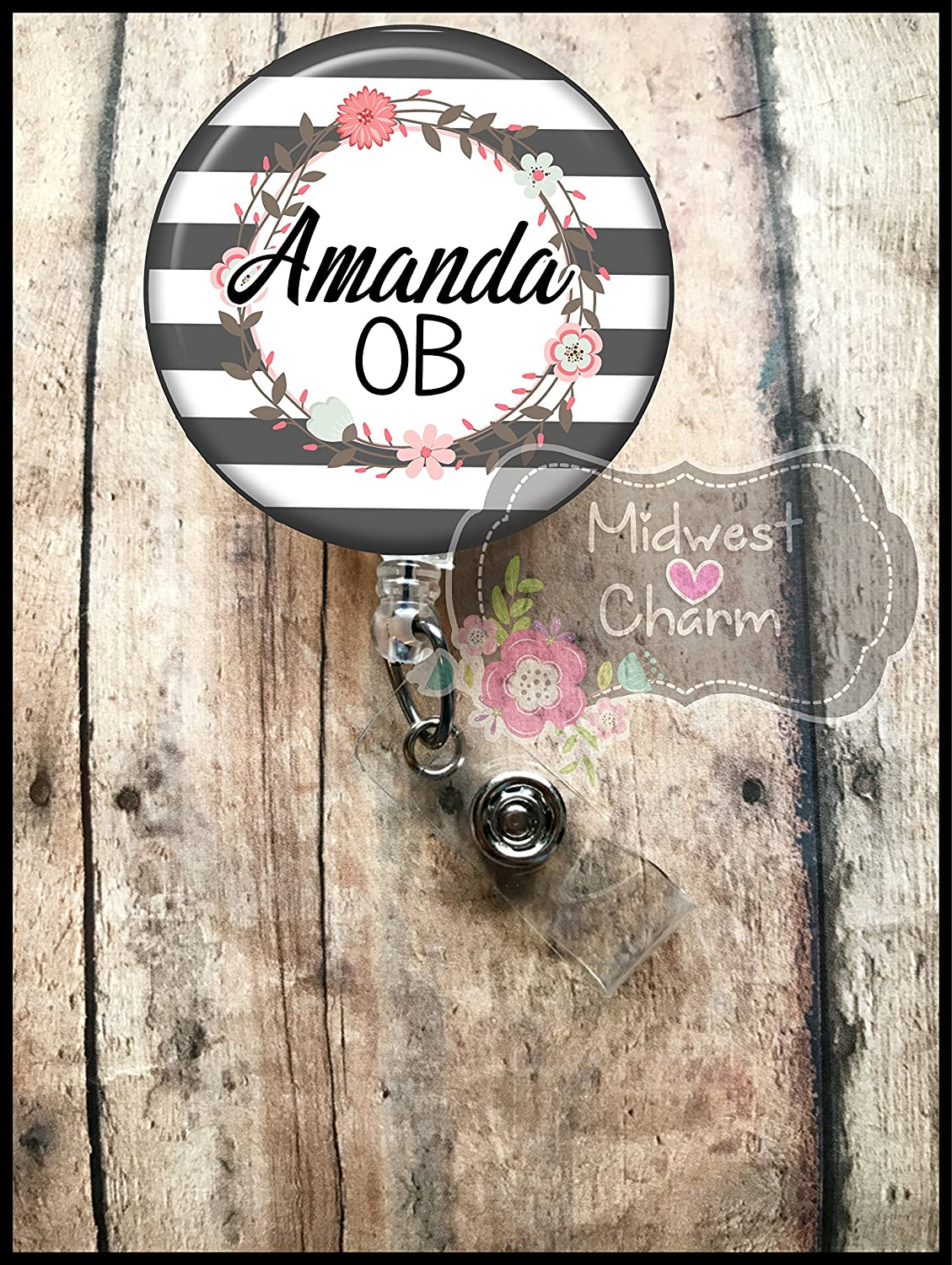 grey stripes with floral wreath.Retractable badge holder, nurse gift, ob, L&D, id holder, reel, RN, LPN, CNA Personalized Christmas Gift