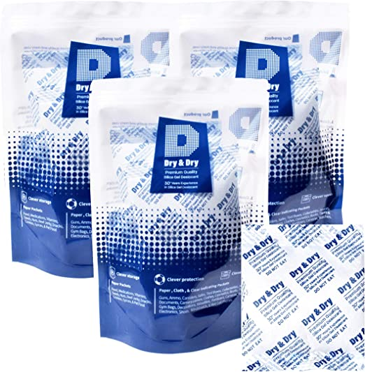 30 Gram Pack Of 10 /'Dry and Dry/' Silica Gel Packets Desiccant Dehumidifiers